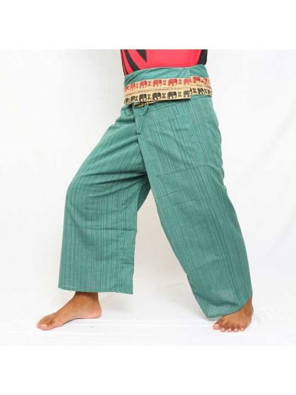 กางเกงเล * สีเขียวขอบลายช้าง สีตามแบบ