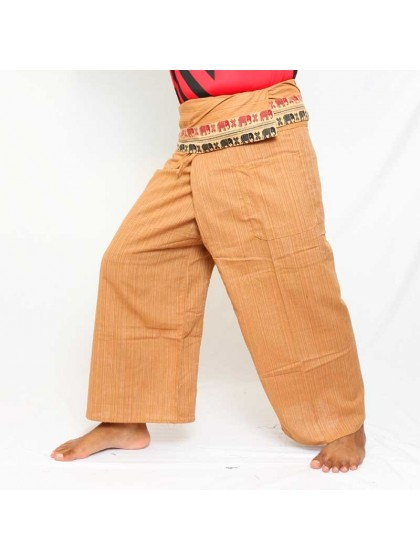 กางเกงเลยาว * สีเขียวขอบลายช้าง สีตามแบบ