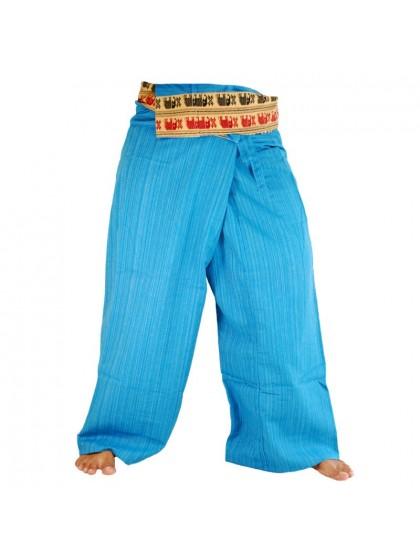 กางเกงเลยาว ขอบลายช้าง*สีฟ้า