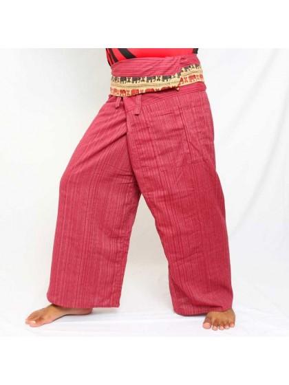 กางเกงเลยาว * สีตาลแดงขอบลายช้าง สีตามแบบ