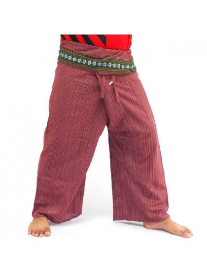กางเกงเลยาว * สีตาลแดงขอบลายดอกพิกุล สีตามแบบ