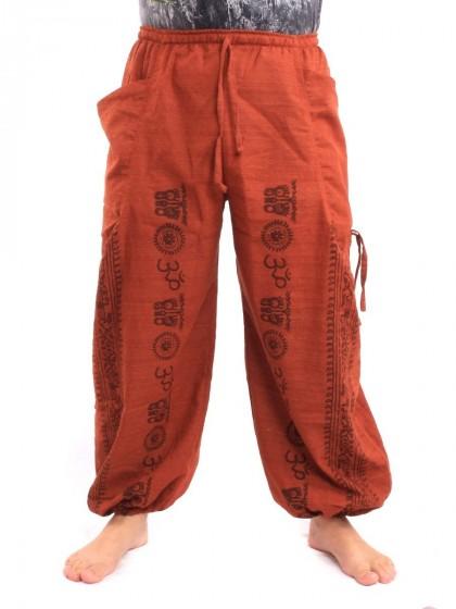 กางเกงฮาเร็ม ลายโอม สีส้ม