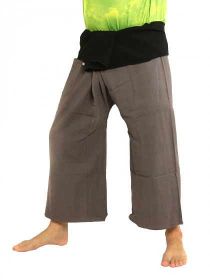 กางเกงเล * ต่อสองสี สีน้ำตาลขอบดำ