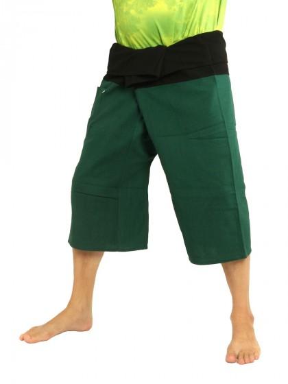 กางเกงเลสั้น * ต่อสองสี สีเขียวขี้ม้าขอบสีดำ