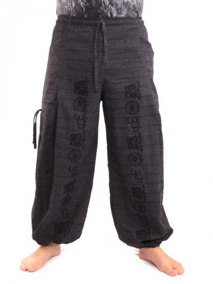 กางเกงฮาเร็ม ลายโอม สีดำ