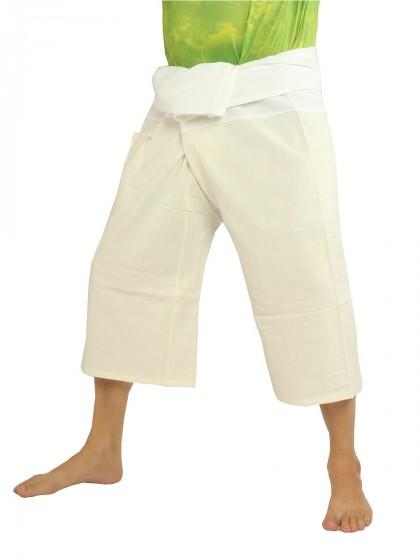 กางเกงเลสั้น * ต่อสองสี สีครีมขอบขาว