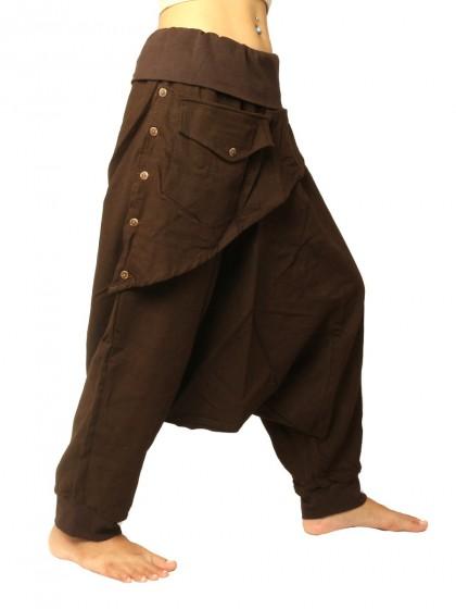 กางเกงอลาดินสีพื้น3/5 คาดกระเป๋าหน้า  * สีน้ำตาล