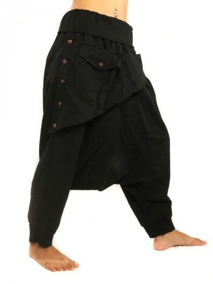 กางเกงอลาดินสีพื้น3/5 คาดกระเป๋าหน้า  * สีดำ