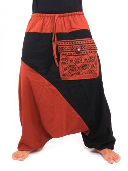 กางเกงอลาดิน ลายช้างมีกระเป๋าข้าง * สีส้ม  สีดำ