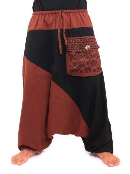 กางเกงอลาดิน ลายช้างมีกระเป๋าข้าง * สีน้ำตาลแดง  สีดำ