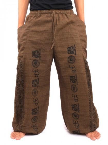 กางเกงฮาเร็ม ลายโอม * สีน้ำตาลเข้ม