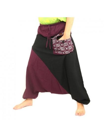 กางเกงอลาดิน ลายช้างมีกระเป๋าข้าง * สีมังคุด  สีดำ
