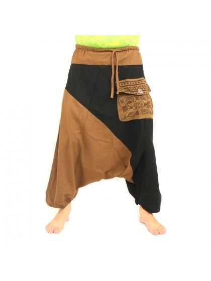 กางเกงอลาดิน ลายช้างมีกระเป๋าข้าง * สีกากี  สีดำ