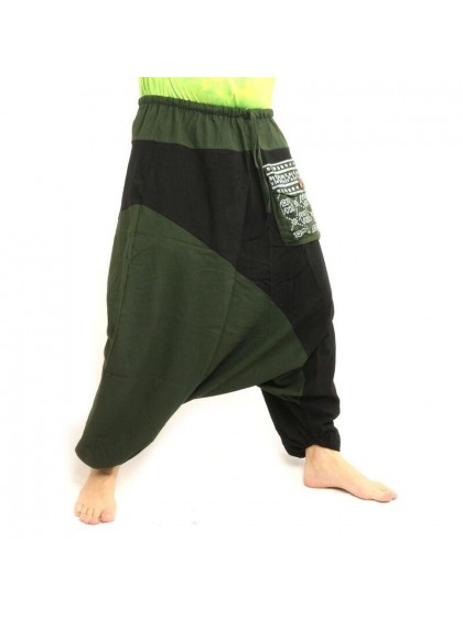 กางเกงอลาดิน ลายช้างมีกระเป๋าข้าง * สีเขียว  สีดำ