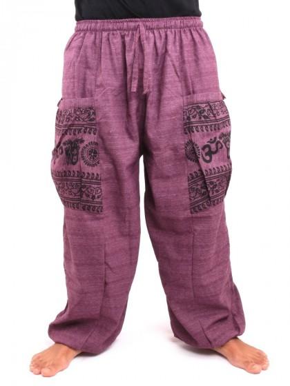 กางเกงฮาเร็ม กระเป๋าลายโอม * สีมังคุด