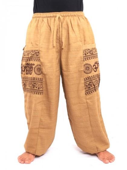 กางเกงฮาเร็ม กระเป๋าลายโอม * สีโอวัลติน