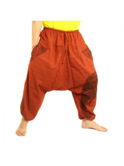 กางเกงฮาเร็ม พิมพ์ลายช้าง ผ้าฝ้ายผสมสำหรับสุภาพบุรุษและสุภาพสตรี * สีส้ม