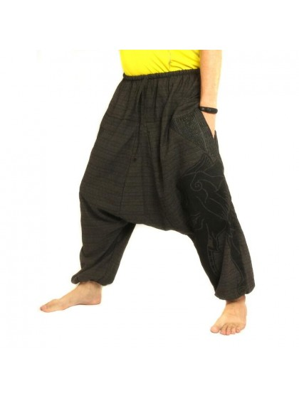 กางเกงฮาเร็ม พิมพ์ลายช้าง ผ้าฝ้ายผสม สำหรับสุภาพบุรุษและสุภาพสตรี * สีดำ