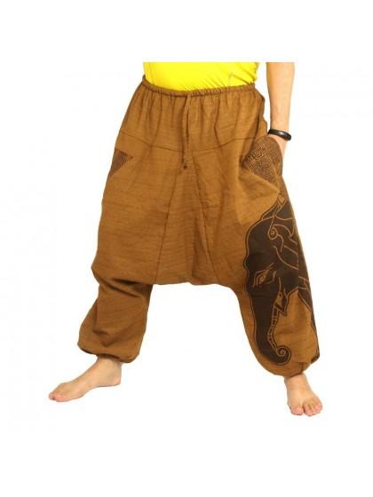 กางเกงฮาเร็ม พิมพ์ลายช้าง ผ้าฝ้ายผสม สำหรับสุภาพบุรุษและสุภาพสตรี * สีกากี
