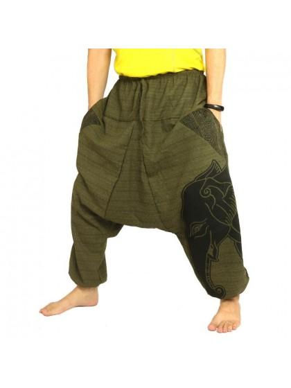 กางเกงฮาเร็ม พิมพ์ลายช้าง ผ้าฝ้ายผสม สำหรับสุภาพบุรุษและสุภาพสตรี * สีเขียวขี้ม้า