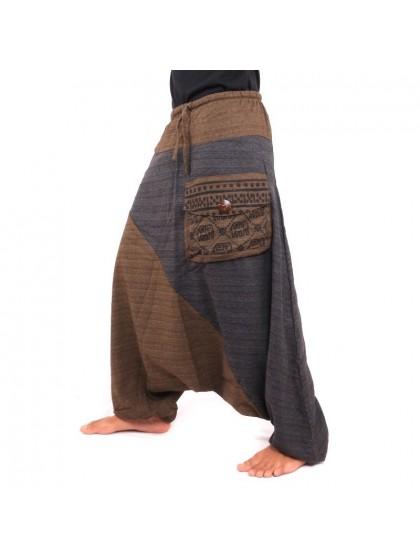 กางเกงอลาดิน ลายช้างมีกระเป๋าข้าง * สีน้ำตาลเข้ม  สีดำ
