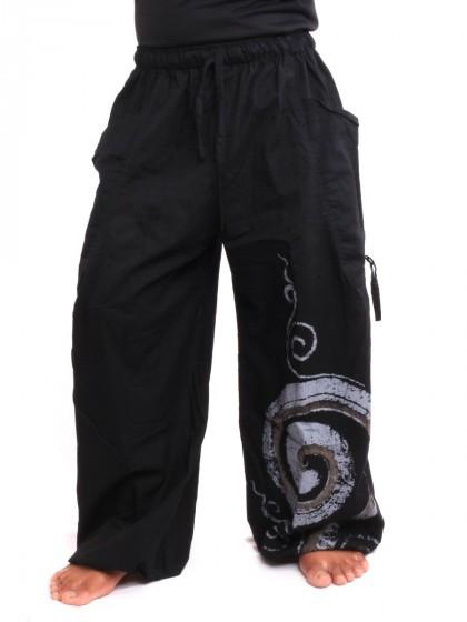 กางเกงฮาเร็ม พิมพ์ลายเกลียว * สีดำ