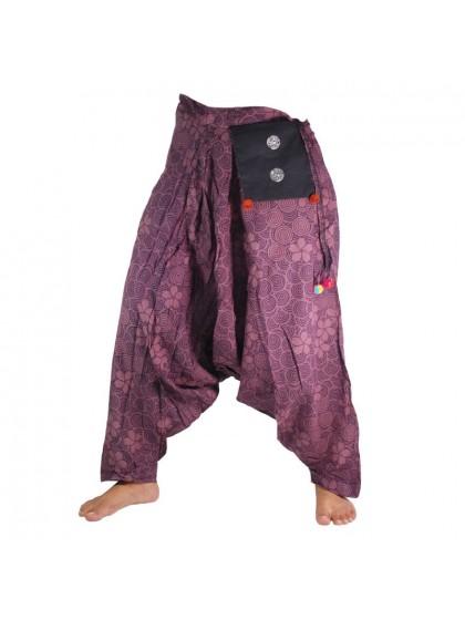 กางเกงอลาดิน ผูกเอว-สีมังคุด-ผ้าเบา