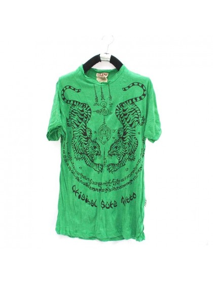 เสื้อยืดลายเสือ*สีเขียว Size L
