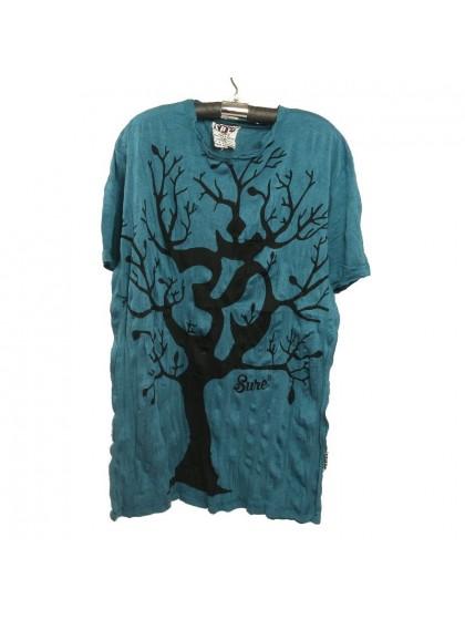 เสื้อยืด*สีฟ้าคราม ลายต้นไม้ Size L