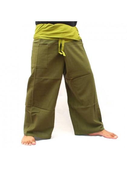 กางเกงเล * ต่อสองสี สีเขียวขี้ม้าขอบสีดำ