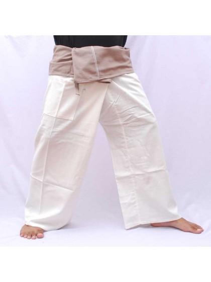 กางเกงเล * ต่อสองสี สีครีมขอบเทา