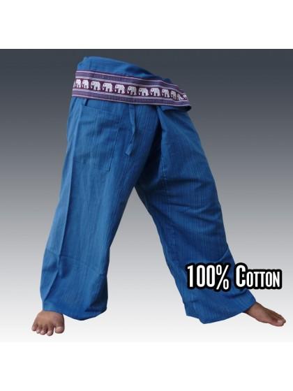 กางเกงเลยาว ขอบลายช้าง*สีน้ำเงิน