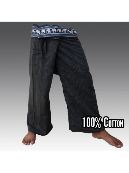 กางเกงเลยาว ขอบลายช้าง*สีดำ