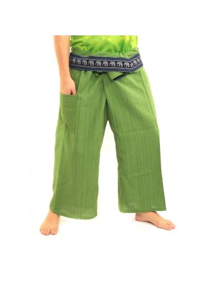 กางเกงเลยาว ขอบลายช้าง*สีเขียวตอง