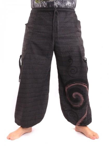กางเกงฮาเร็ม พิมพ์ลายเกลียว* สีดำ