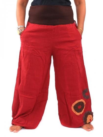 กางเกงฮาเร็ม ลายโดนัทช่วงปลายเท้า * สีน้ำตาลเข้มขอบสีแดงสด