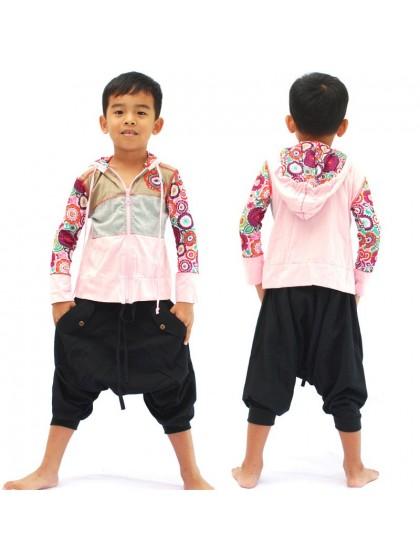 เสื้อแจ็คเก็ตเด็ก* สีชมพู ลายตามแบบ