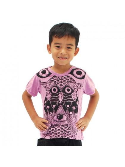 เสื้อยืดเด็ก ลายนกฮูก*สีม่วงอ่อน Size M