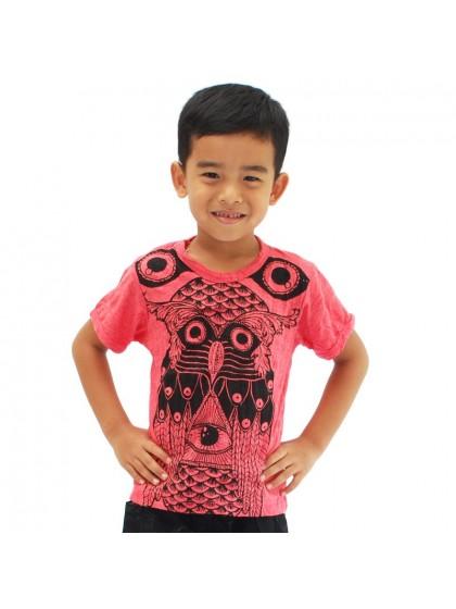 เสื้อยืดเด็ก ลายนกฮูก*สีแดง Size M