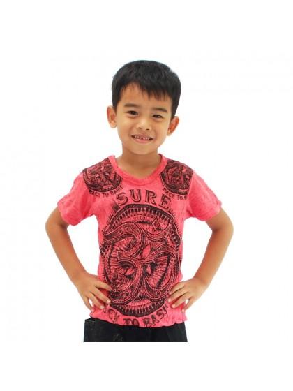เสื้อยืดเด็ก ลายโอม*สีแดง Size M
