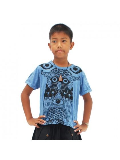 เสื้อยืดเด็ก ลายนกฮูก*สีฟ้า Size L