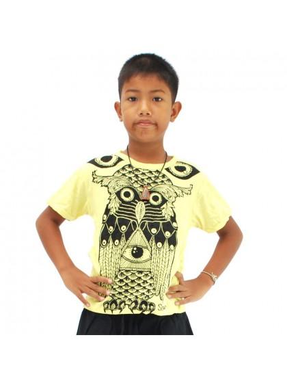 เสื้อยืดเด็ก ลายนกฮูก*สีเหลือง Size L