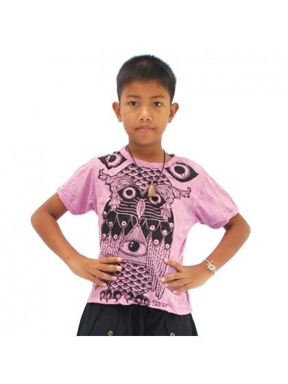 เสื้อยืดเด็ก ลายนกฮูก*สีม่วงอ่อน Size L