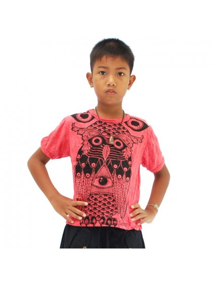 เสื้อยืดเด็ก ลายนกฮูก*สีแดง Size L