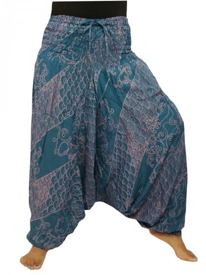 กางเกงอลาดิน*ม้งสม็อคลาย*สีฟ้าคราม