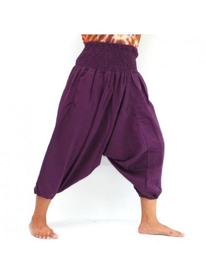 กางเกงอลาดินสั้น สีพื้น* สีมังคุด