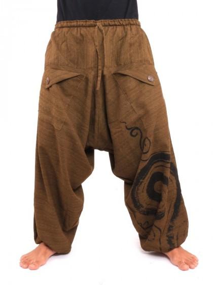 กางเกงฮาเร็ม พิมพ์ด้วยเกลียว ผ้าฝ้าย * สีน้ำตาลเข้ม