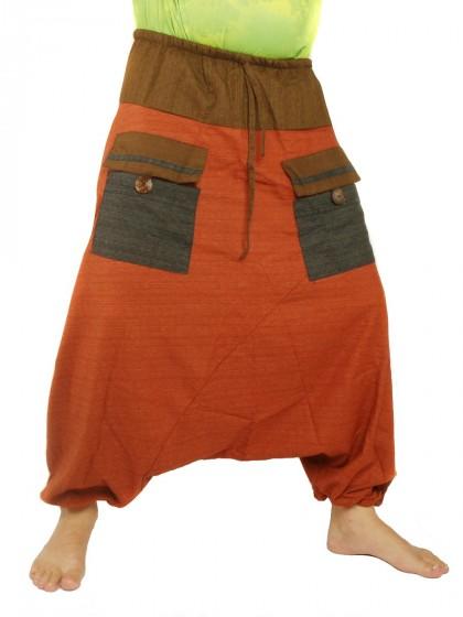 กางเกงฮาเร็ม พิมพ์ด้วยเกลียวผ้าฝ้ายสำหรับสุภาพบุรุษและสุภาพสตรี * สีกากี สีน้ำเงิน