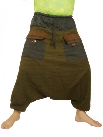 กางเกงอลาดิน ผ้าสองสี มีกระเป๋าด้านหน้า 2 ใบ