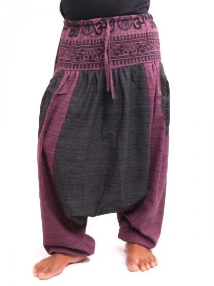 กางเกงอลาดิน ลายโอม * สีมังคุด  สีดำ